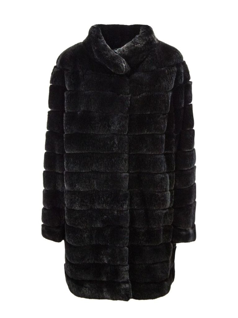 Yves Salomon Black Rabbit-fur Coat.
