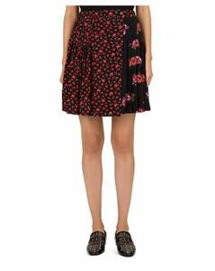 The Kooples Pleated Floral Silk Wrap Skirt