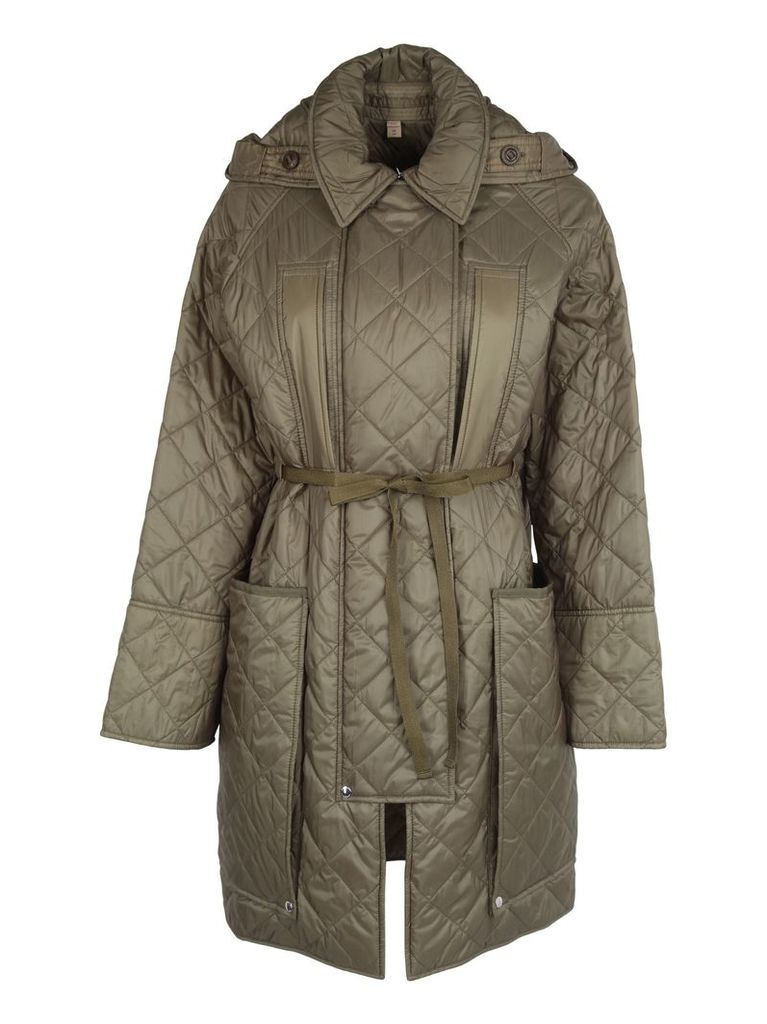 Burberry London England Diamond Quilted Hooded Coat