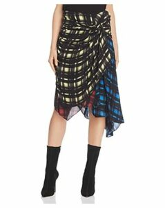 Preen Line Halu Mixed Grid Print Midi Skirt