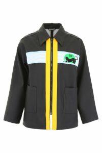 Miu Miu Waxed Raincoat With Logo