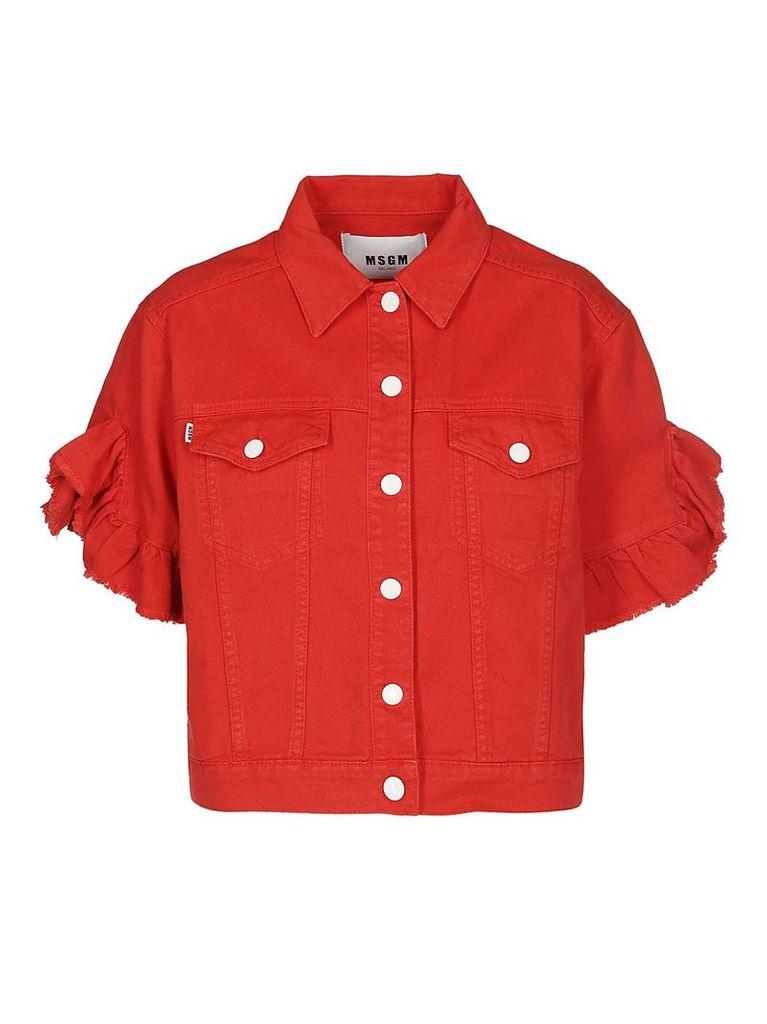 Msgm Ruffled Sleeve Short Jacket