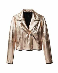 Aqua Metallic Leather Moto Jacket - 100% Exclusive