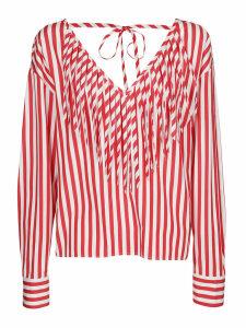 MSGM Long-sleeved Stripe Print Blouse