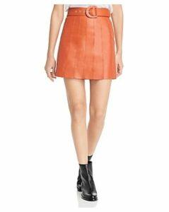 Sandro Aubin Seamed Leather Mini Skirt