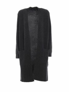 Polo Ralph Lauren Grey Merino And Cashmere Open Front Cardigan
