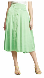 Anais Jourden Satin Pleated Midi Skirt