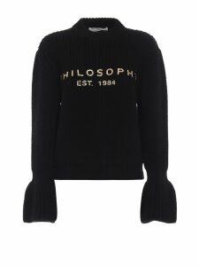 Philosophy di Lorenzo Serafini Gold-tone Logo Print Black Wool Sweater