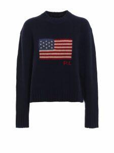 Polo Ralph Lauren American Flag Intarsia Wool Boxy Sweater