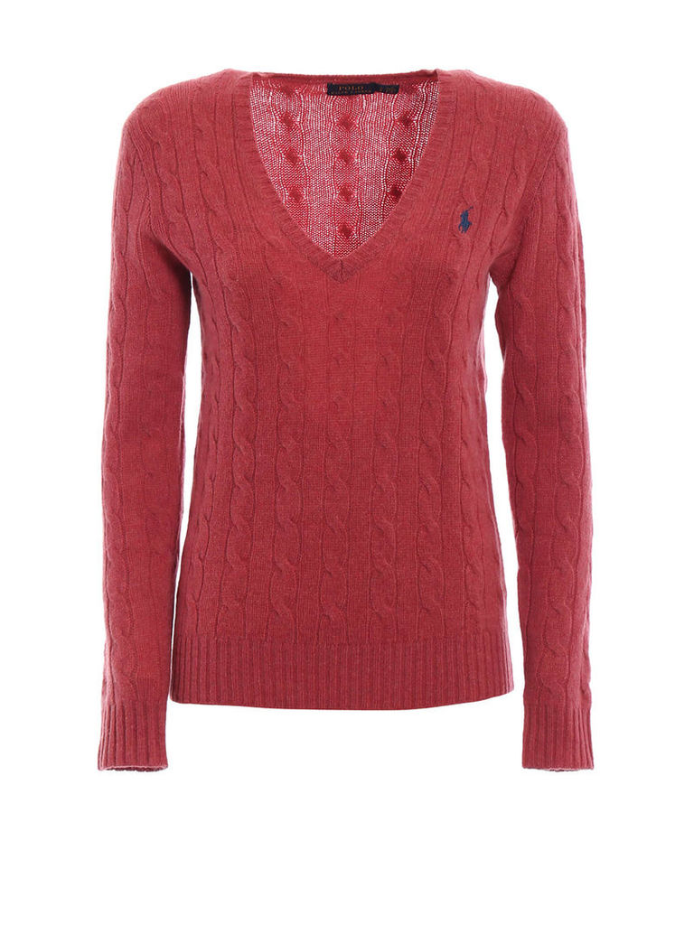 Polo Ralph Lauren Cable Knit Merino And Cashmere V-neck Sweater