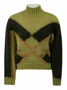Alberta Ferretti Embellished Two Tone Sweater