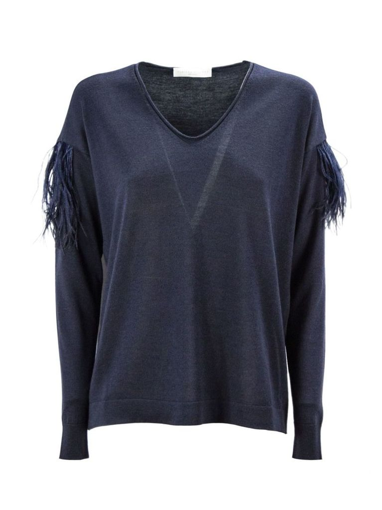 Fabiana Filippi Blue Merino Wool Blend Sweater