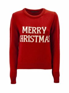 Alberta Ferretti merry Christmas Red Pullover.