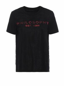 Philosophy di Lorenzo Serafini See-through Lace Embellished Black Tee
