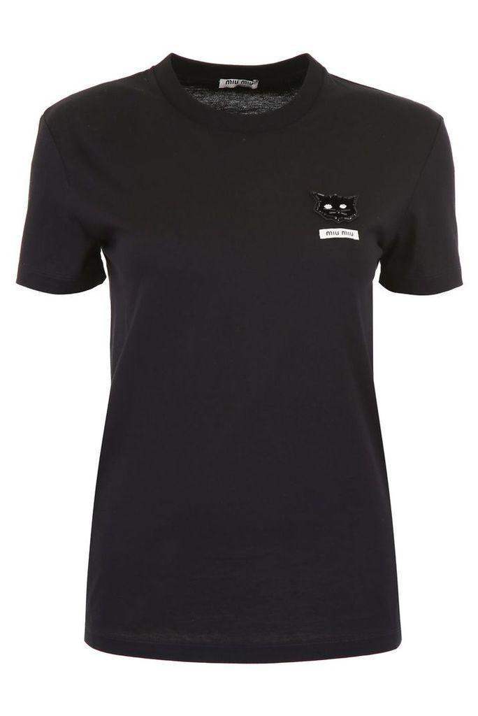 Miu Miu T-shirt With Cat Patch