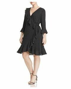 Adrianna Papell Plus Pindot Wrap Front Ruffle Dress