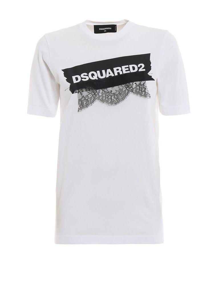 Dsquared2 Lace Applique Logo T-shirt