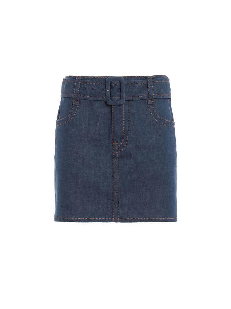 Prada Belted Denim Skirt