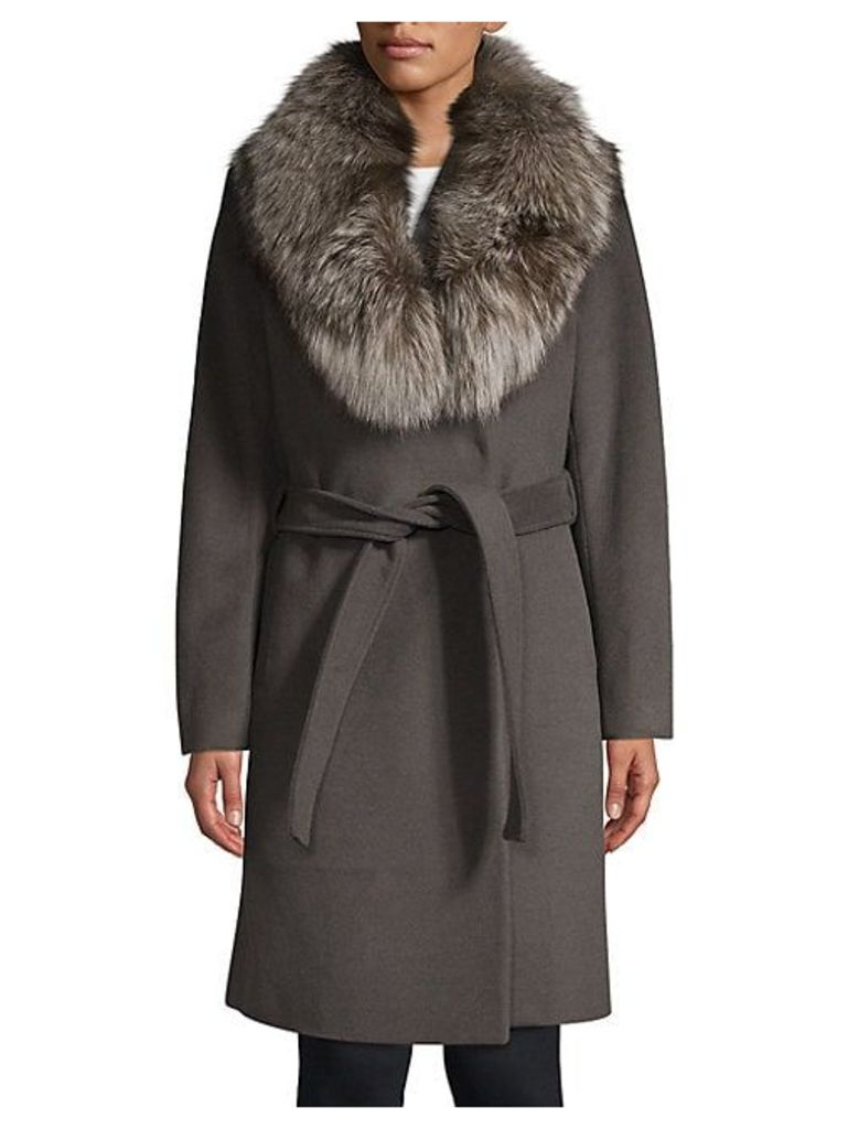 Sasha Fox Fur Collar Wrap Coat