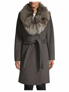 Sasha Fox Fur Collar Wrap Coat