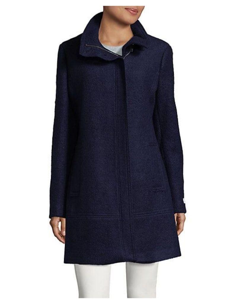 Toggle-Trim Boucle Long Coat