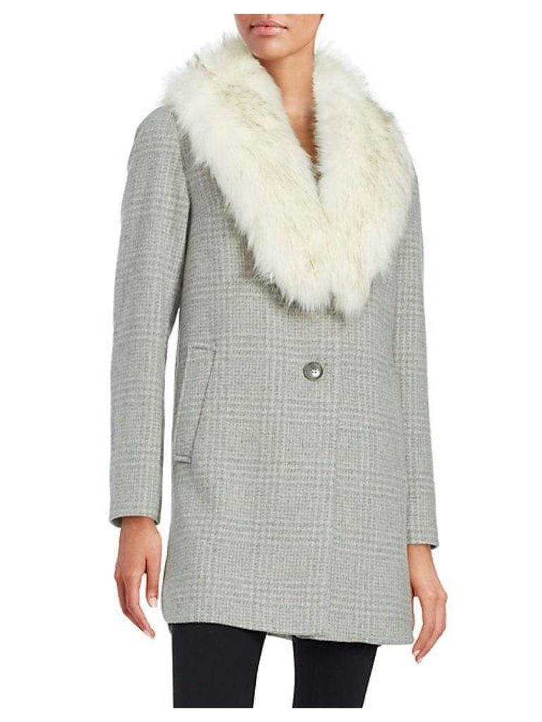 Olivia Faux Fur Collar Wool-Blend Plaid Coat
