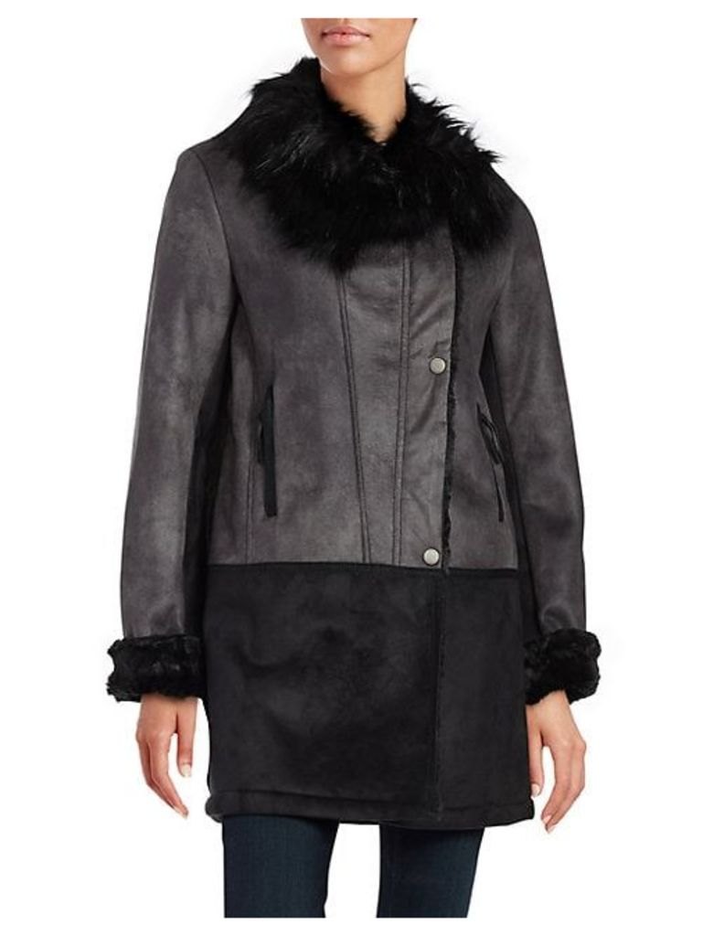 Faux-Fur-Trimmed Asymmetrical Leatherette Coat