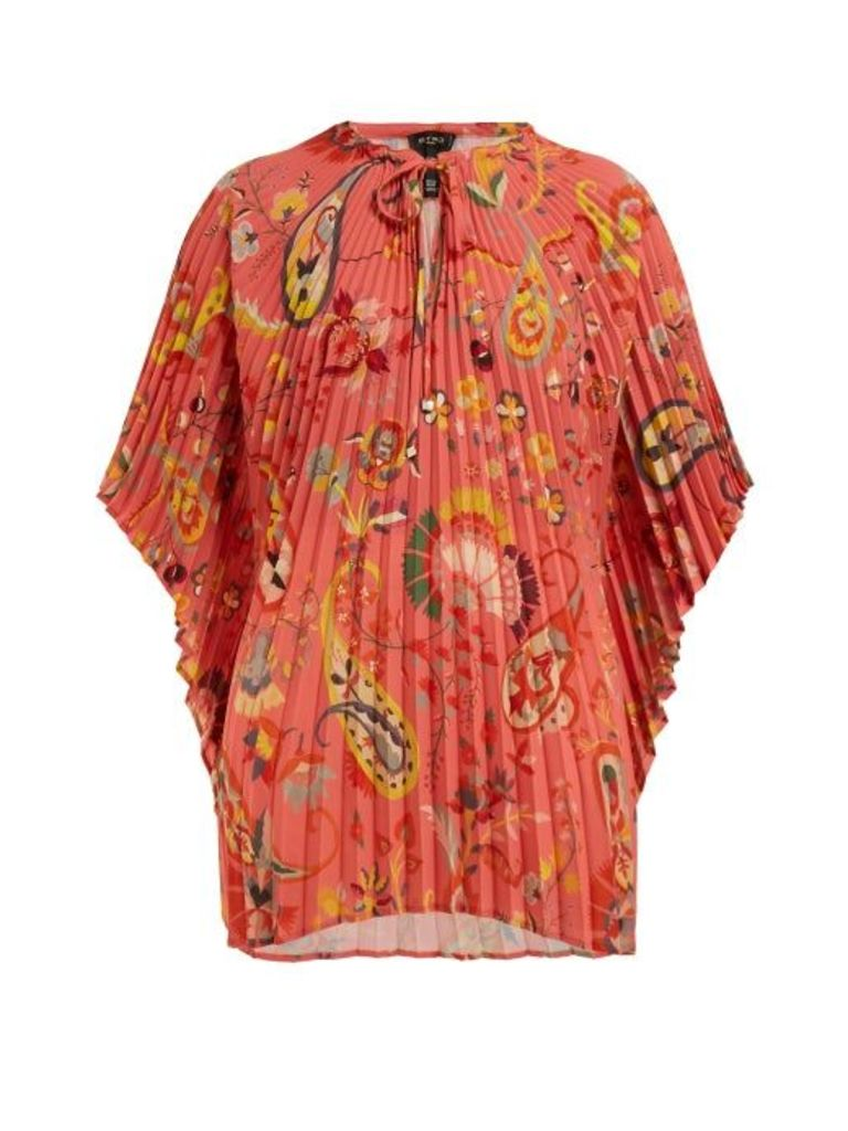 Etro - Pleated Floral Print Crepe Blouse - Womens - Pink