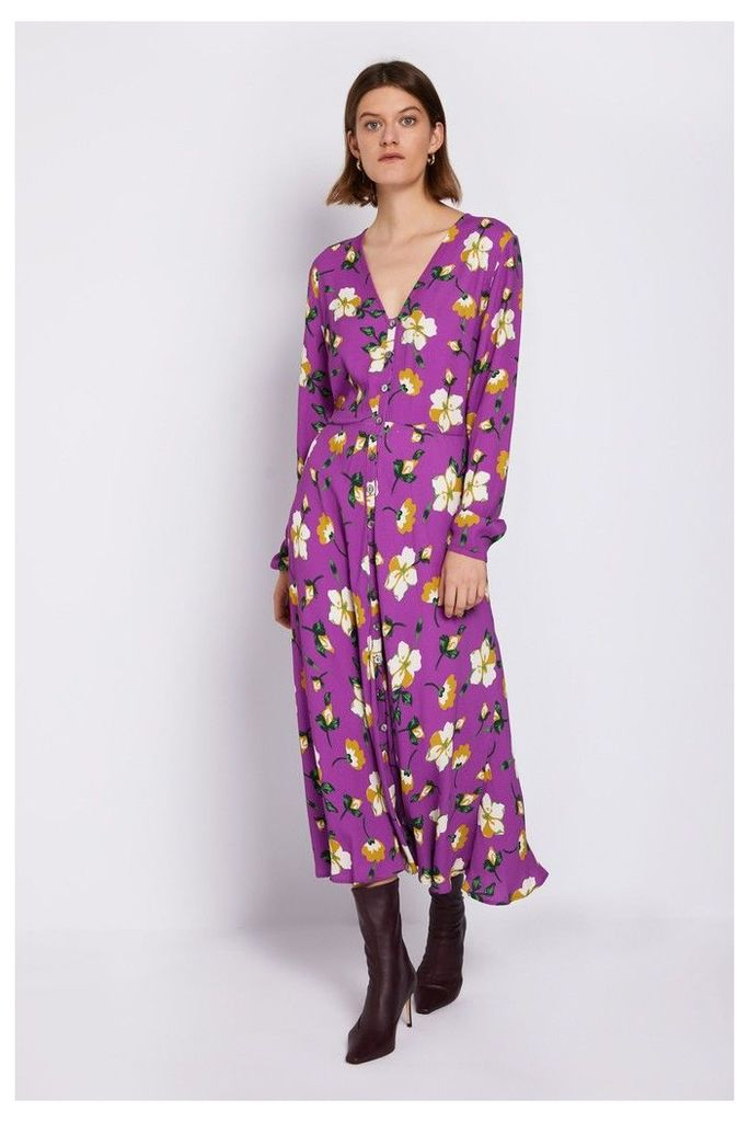 Womens Ghost London Purple Laura Printed Floral Dress -  Purple