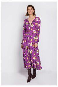 Womens Ghost London Purple Laura Printed Floral Dress -  Purple