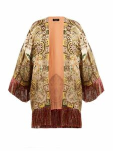 Etro - Fringed Paisley Print Satin Kimono Style Jacket - Womens - Green Multi