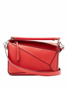 Loewe - Puzzle Small Grained Leather Cross Body Bag - Womens - Red