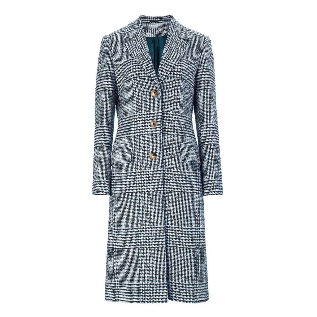 Baukjen - Myla Check Coat In Navy & Soft White Check