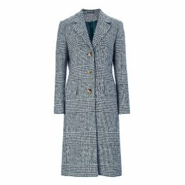 Baukjen - Myla Check Coat In Navy & Soft White Check