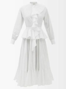 Erdem - Roselia Edith Print Silk Skirt - Womens - White Multi