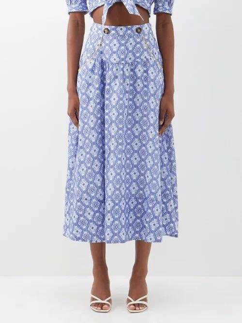 Sies Marjan - Portia Ruffle Front Crepe Midi Dress - Womens - Pink