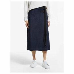 Kin Denim Wrap Midi Skirt, Indigo