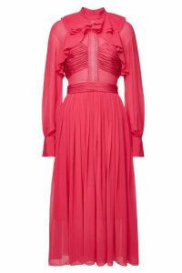 Self-Portrait Chiffon Midi Dress with Ruffles