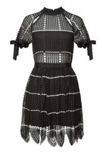 Self-Portrait Crochet Mini Dress with Scalloped Hem