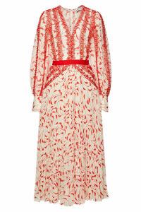 Self-Portrait Printed Chiffon Midi Dress with Lace