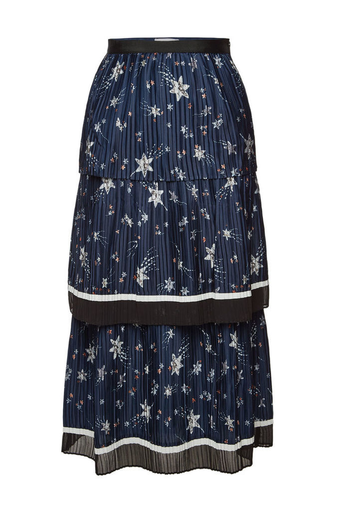 Self-Portrait Printed Tiered Skirt