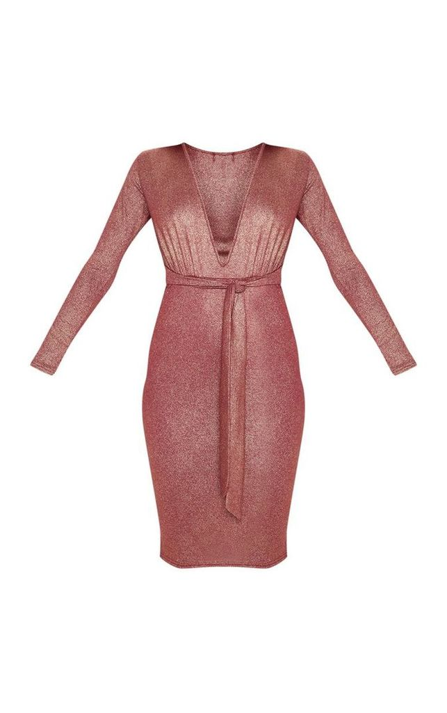 Red Metallic Glitter Plunge Belted Midi Dress, Red