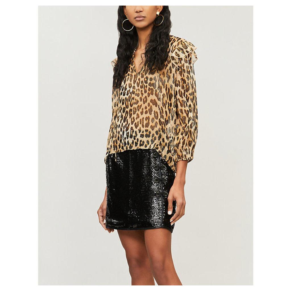 Sissy metallic leopard-print ruffled silk-blend top