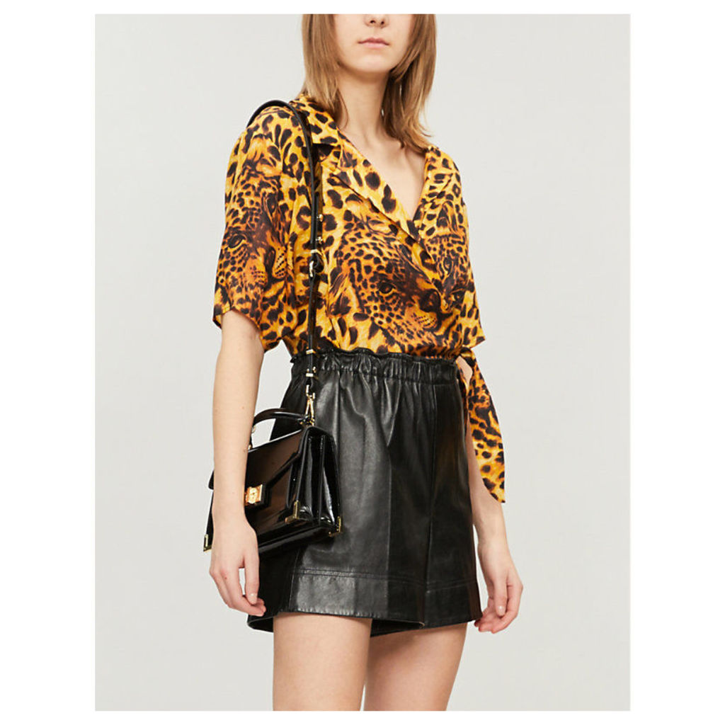 Ghost Leopard cropped crepe blouse