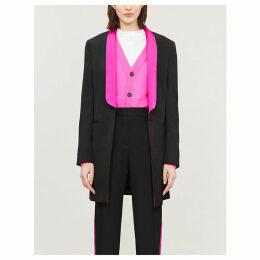 Contrast-lapel wool and silk-satin blazer