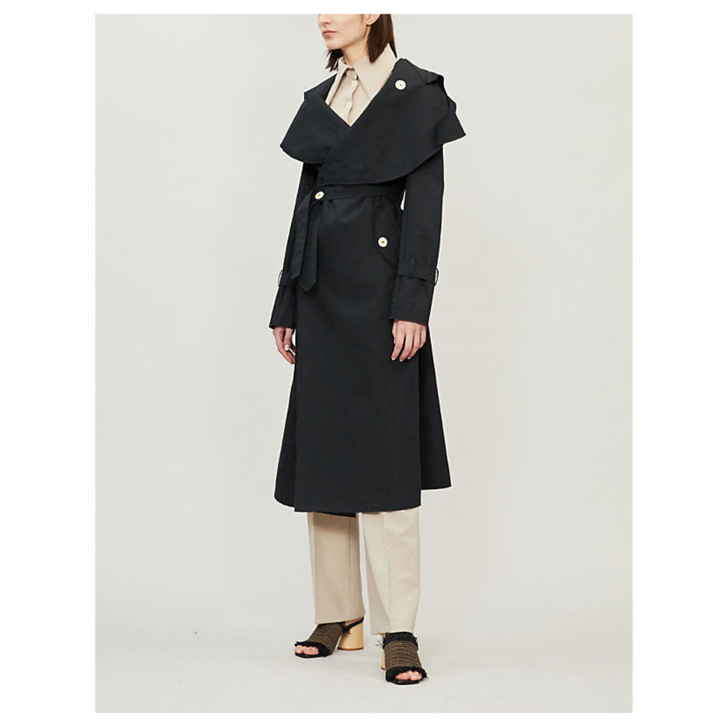 Oversized-collar cotton trench coat