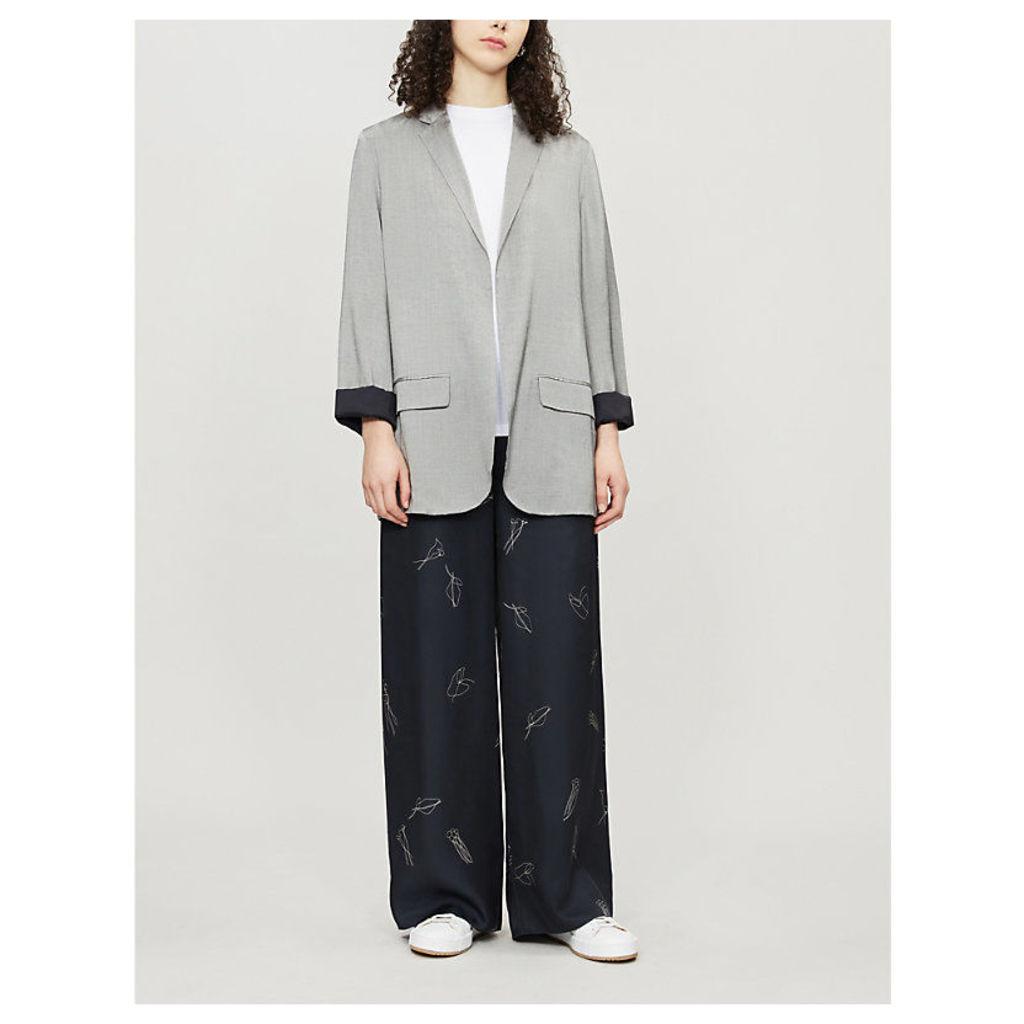 Open-front silk-blend jacket