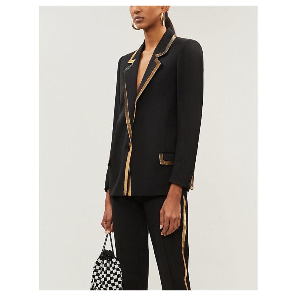 Gold-trimmed wool blazer