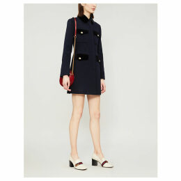 Velvet-trimmed wool-blend coat