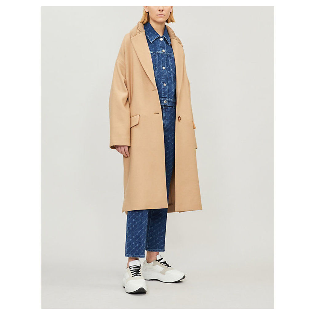 Knitted-collar wool-blend coat